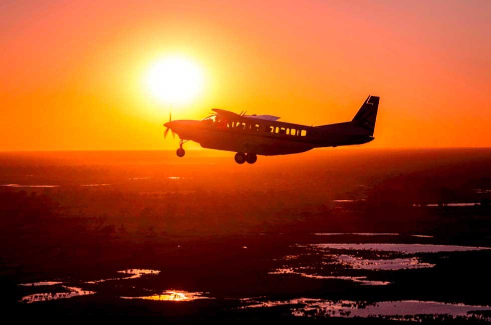 survol namibie - coucher de soleil